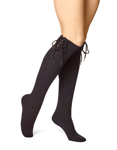 Hue Lace-Up Knee-High Socks-BLACK-One Size 89367343_BLACK_One Size