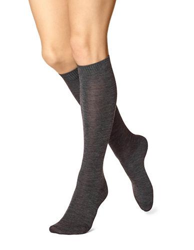 Hue Flat Knee-High Socks-GRAPHITE-One Size