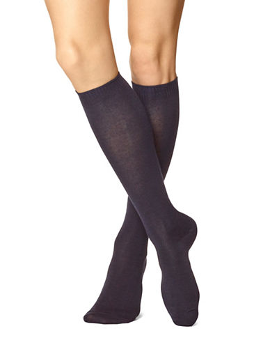 Hue Flat Knee-High Socks-NAVY-One Size
