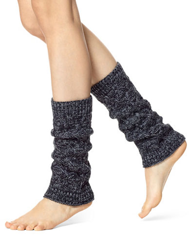 Hue Cable Knit Legwarmer-BLACK-One Size