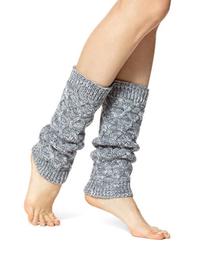 Hue Cable Knit Legwarmer-STEEL-One Size