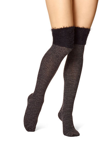 Hue Faux Fur Over-The-Knee Socks-BLACK-One Size