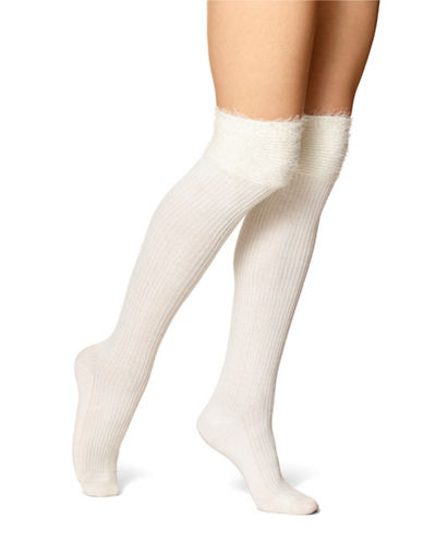 Hue Faux Fur Over-The-Knee Socks-IVORY-One Size