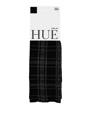 Hue Womens Plaid Knee Socks-BLACK-One Size