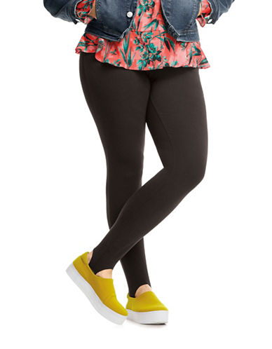 Hue Basic Stirrup Leggings-BLACK-1X