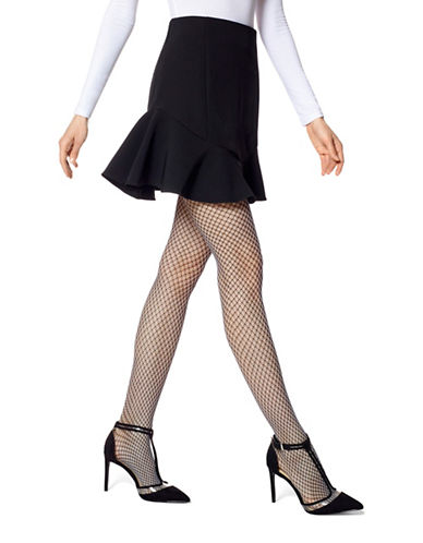 Hue Two Toned Net Tights-BLACK-Large/X-Large
