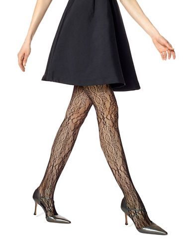 Hue Floral Lace Net Tights-BLACK-Medium/Large