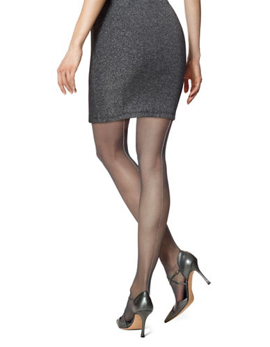 Hue Sheer Metallic Backseam Tights-BLACK/SILVER-Medium/Large