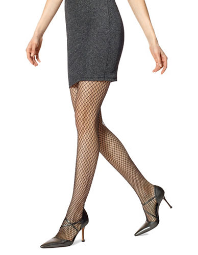 Hue Metallic Net Tights-BLACK/SILVER-Small/Medium