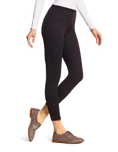 Hue Tweed Loafer Skimmer Leggings-BLACK-X-Large