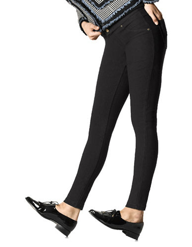 Hue Fleece-Lined Denim Leggings-BLACK-Large