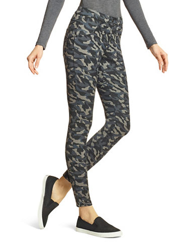 Hue Camo Essential Denim Leggings-GREY-Large