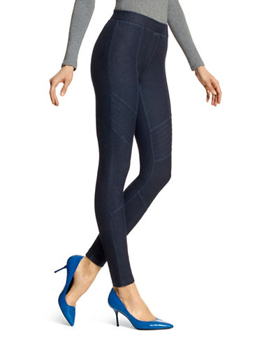 Hue Moto Essential Denim Leggings-BLUE-Small