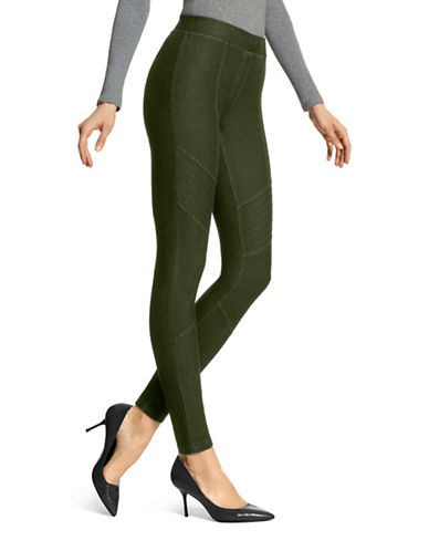 Hue Moto Essential Denim Leggings-GREEN-Small