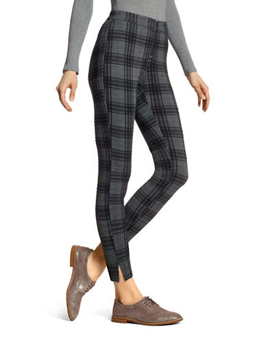 Hue Plaid Skimmer Leggings-BLACK-X-Small