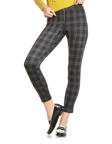 Hue Tartan Loafer Skimmer Pants-GREY-X-Small