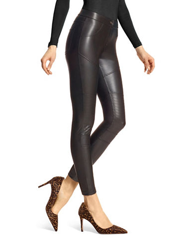 Hue Moto Leatherette Skimmer Leggings-BLACK-X-Large