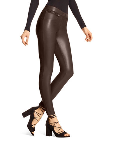 Hue Leatherette Leggings-BROWN-Small