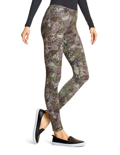 Hue Camo Ankle Length Leggings-GREEN-X-Large