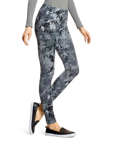 Hue Camo Ankle Length Leggings-GREY-Small
