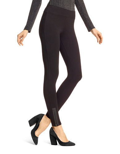 Hue Leatherette Trim Zippered Leggings-BLACK-X-Small