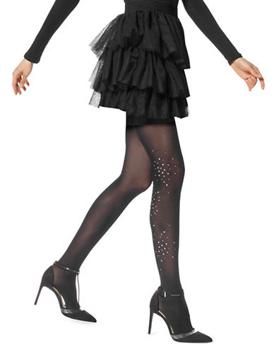Hue Rhinestone Cluster Tights-BLACK-Small/Medium