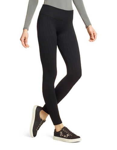 Hue Cable Knit Seamless Leggings-BLACK-Large/X-Large