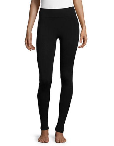 Hue Brushed Seamless Leggings-BLACK-Medium/Large