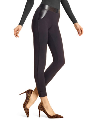 Hue Leatherette Trim Leggings-BLACK-Large