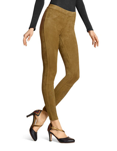 Hue Embellished Micro suede Legging-ARTICHOKE-X-Small