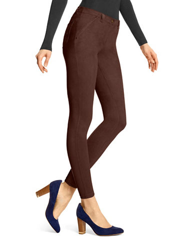 Hue Microsuede Leggings-BROWN-Small