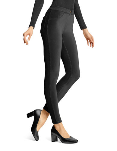Hue Corduroy Leggings-BLACK-Large