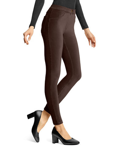 Hue Corduroy Leggings-BROWN-Large