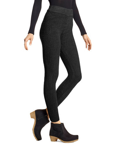 Hue Cable-Knit Leggings-BLACK-Large