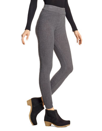 Hue Cable-Knit Leggings-GRAPHITE-X-Large