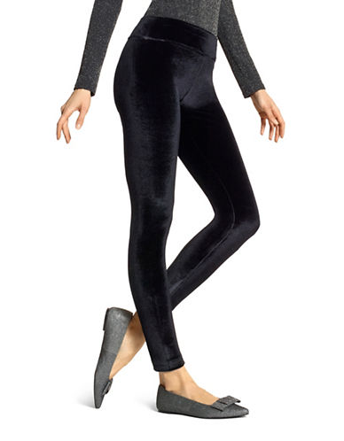 Hue Velvet Leggings-BLACK-Large
