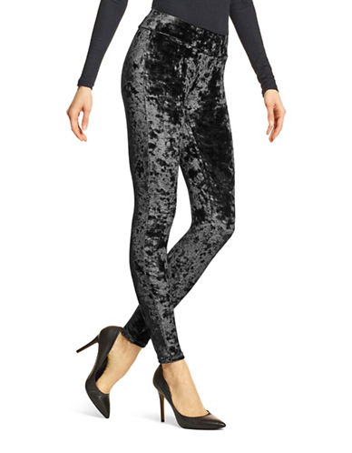 Hue Crushed Velvet Leggings-BLACK-X-Large
