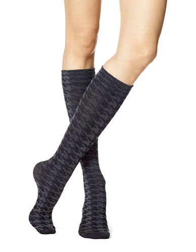 Hue Womens Houndstooth Knee-High Socks-GREY-One Size