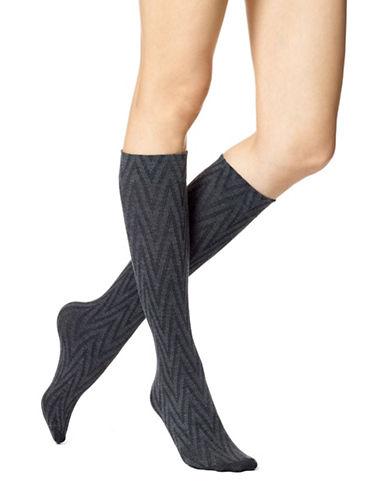 Hue Womens Zig Zag Knee-High Socks-GREY-One Size