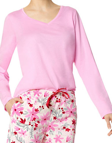 Hue V-Neck Pyjama Top-PINK-Small 89574299_PINK_Small