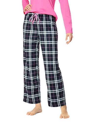 Hue Plus Plaid Drawstring Pajama Pants-BLACK-1X