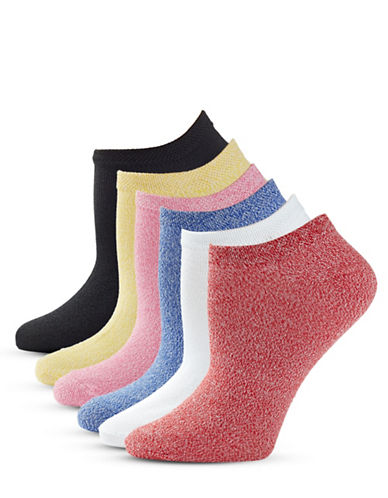Hue Six-Pack Basic Ped Socks-RED HOT-One Size