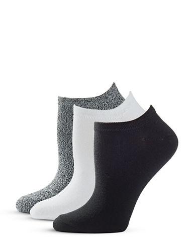 Hue Six-Pack Basic Ped Socks-WHITE/BLACK-One Size