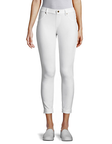Hue Skimmer Cuffed Essential Denim Pants-WHITE-Medium