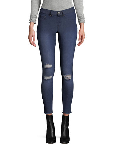 Hue Skimmer Ripped Knee Denim Leggings-BLUE-Small