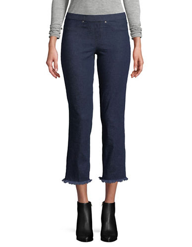 Hue Raw Edge Cropped Jeans-BLUE-Small