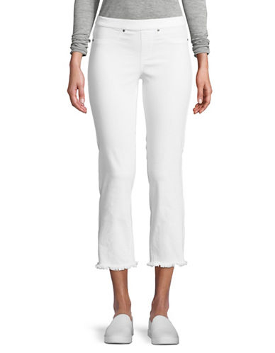 Hue Raw Edge Cropped Jeans-WHITE-Large