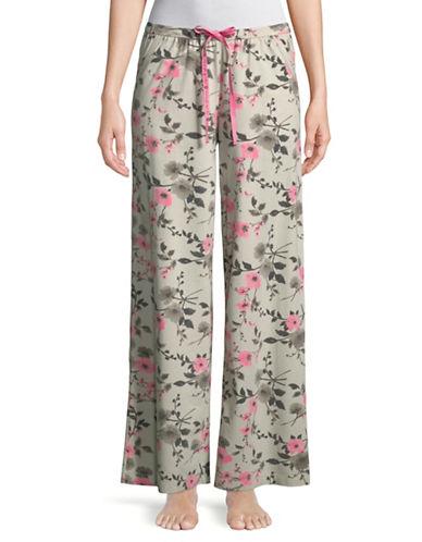 Hue Floral Print Sleep Pant-BEIGE-Small