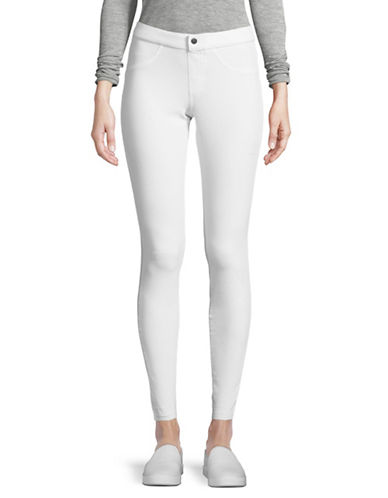 Hue Selvedge Ripped Denim Leggings-WHITE-Small