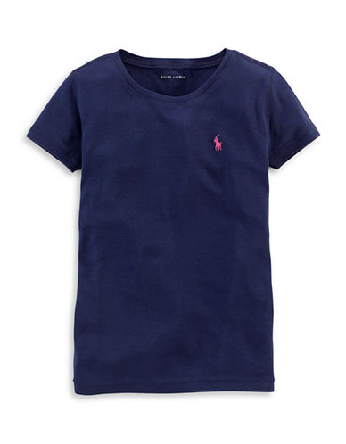 Ralph Lauren Childrenswear Crew Neck T-Shirt-NAVY-Large